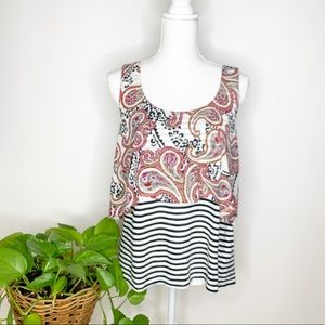 Anthro Meadow Rue Throughway sz M layer tank L0350